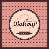 Bakery label on pink pattern 0066 Stock Photos