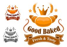 Bakery label withfresh and tasty croissant Royalty Free Stock Image