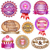 Bakery Labels. Premium and finest quality bakery, cakes and pastries labels and badges vector stock illustration