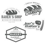 Bakery labels. Set of bakery labels. Baker's shop badges and icons in vintage style, vector illustration Royalty Free Stock Photos