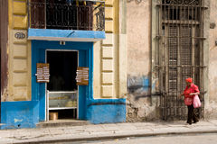 Bakery and lady, Havana Royalty Free Stock Image