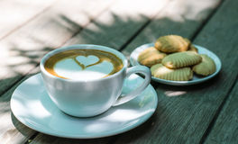 Bakery with latte art. Royalty Free Stock Images