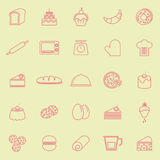 Bakery line color icons on yellow background Royalty Free Stock Photography