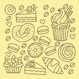 Bakery line doodle icons set. Bakery sweets line doodle icons cute sweets vector set with muffin and cake Royalty Free Stock Photos