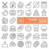 Bakery line icon set, bread symbols collection, vector sketches, logo illustrations, food signs linear pictograms. Package isolated on white background, eps 10 royalty free illustration