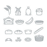 Bakery line icons. Bread and baguette. Food of dough. Pancakes a Royalty Free Stock Image