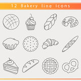 Bakery line icons stock illustration