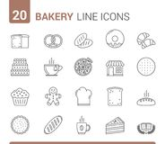 Bakery Line Icons. 20 Bakery line icons - bread, pies, cookies, donuts and others Royalty Free Illustration