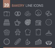 Bakery Line Icons. 20 Bakery line icons - bread, pies, cookies, donuts and others Stock Illustration