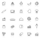 Bakery line icons with reflect on white background Royalty Free Stock Photos