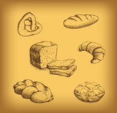 Bakery. loaf, baguette, baked goods, croissant, cu. Pcake, bagel. labels, pack for bread wheat ear of wheat Stock Illustration