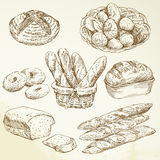 Bakery, loaf, baguette - hand drawn collection stock illustration