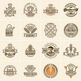 Bakery logo, bakery icons set, bakery labels stock illustration