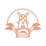 Bakery logo linear style. Store bread emblem. bakehouse sign. Mi Stock Image