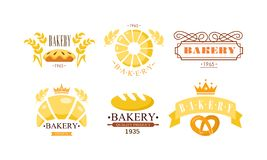 Bakery logo set, bakehouse retro badge fresh bakery products and pastries vector Illustration on a white background. Bakery logo set, bakehouse retro badge fresh vector illustration