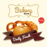 Bakery logo with text and bread Royalty Free Stock Images