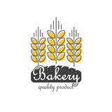 Bakery logo vector isolated, line outline wheat bread food logotype Royalty Free Stock Images