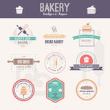 Bakery Logos. Set of  bakery logos. Bread and pasteries labels, badges and design elements. Fresh baked goods Royalty Free Stock Photos