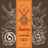 Bakery logotype with mill and ears on doodle bakery products set. Royalty Free Stock Photos