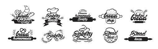 Bakery logotypes. Bakery house, home baking, mobile bakery logos in lettering style. Vector illustration royalty free illustration