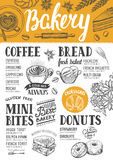 Bakery menu restaurant, food template. Bakery food menu for restaurant and cafe. Design template with hand-drawn graphic elements in doodle style Royalty Free Stock Photography