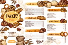 Bakery menu template of bread for cafe and pastry. Bakery menu of fresh bread product for cafe dessert and pastry shop template. Wheat bread, cake and croissant stock illustration
