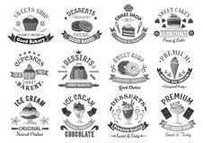 Bakery menu template desserts and cakes icons set Stock Photos