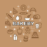 Bakery minimal outline icons vector illustration