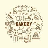 Bakery minimal thin line icons set stock illustration