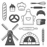 Bakery Monochrome Elements Set Stock Image