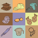 Bakery objects outline. Food equipment royalty free illustration