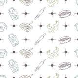 Bakery objects pattern Stock Photo