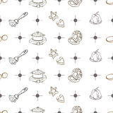 Bakery objects pattern Royalty Free Stock Images