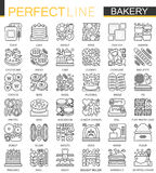 Bakery outline mini concept symbols. Pastry food Modern stroke linear style illustrations set. Food Perfect thin line. Icons Royalty Free Stock Image
