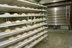 Bakery oven. Wired rack filled with fresh uncooked bread prepared for stacking into the bakery oven Stock Image