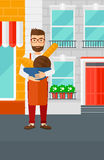 Bakery owner with bread. royalty free illustration