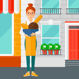 Bakery owner with bread. vector illustration