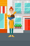 Bakery owner with bread. stock illustration