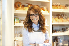 Bakery owner woman Stock Images