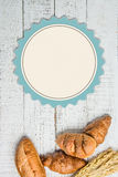 Bakery with paper label on wood Royalty Free Stock Photo