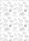 Outline bakery and pastry background. Image of  bakery and pastry background in outline Royalty Free Stock Image