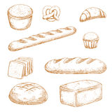 Bakery, pastry and buns sketches Stock Photography