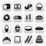 Bakery, pastry buttons set - bread, donut, cake, cupcake Royalty Free Stock Photos