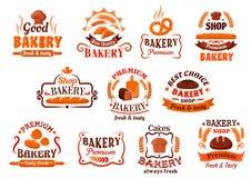 Bakery, pastry and cake shop symbols, retro style Stock Photos