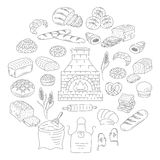 Bakery and pastry collection doodle vector illustration. Bakery and pastry collection with various sorts of bread, croissant, pretzel, french baguette, rolls Stock Photos