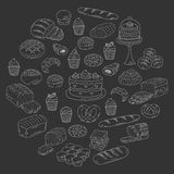 Bakery and pastry collection , doodle vector illustrations isolated on white Royalty Free Stock Photography