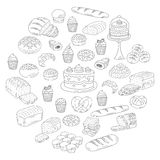 Bakery and pastry collection , doodle vector illustrations isolated on white Stock Photography
