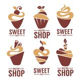 Bakery, pastry, confectionery, cake, dessert, sweets shop. Vector logo and emblem collection vector illustration