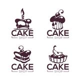Bakery, pastry, confectionery, cake, dessert, sweets shop, vector collection of logo, labels and emblems templates royalty free illustration