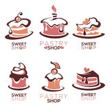 Bakery, pastry, confectionery, cake, dessert, sweets shop,. Vector logo and emblem collection stock illustration